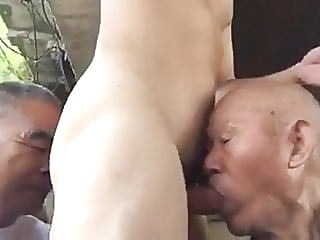 Two chinese grandpas share cock & ass outdoors amateur (gay) asian (gay) blowjob (gay)