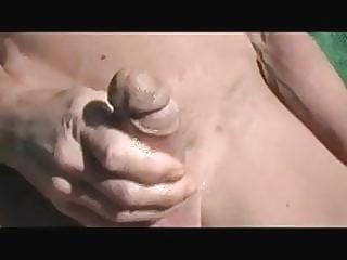 Gay Henndrik Lie at Beach jerking Solo Cum 6:30 2012-05-31