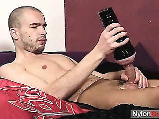 Twink Steven sperms on pantyhose gays (gay) masturbation (gay) solo (gay)