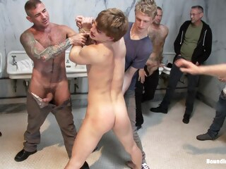 Bound in Public. Cruising for Sex with Noah gay bdsm gay blowjob gay gangbang