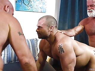 Bearback - 2 Older Bears Double Down On Cub bareback (gay) bear (gay) big cock (gay)