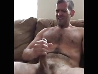 hot hairy daddy with a big cock jerks and cums on his chest amateur bear big cock